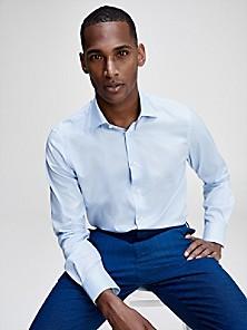 White//Royal Blue Tommy Hilfiger Mens Slim Fit Dress Shirt Size 17 17 1//2-34//35