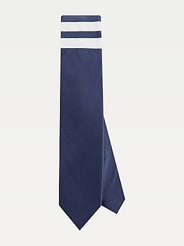 타미 힐피거 넥타이 TOMMY HILFIGER TAILORED Cotton Stripe Pocket Tie,NAVY/WHITE