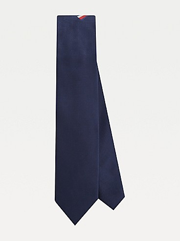 타미 힐피거 실크 넥타이 TOMMY HILFIGER TAILORED Silk Microprint Pocket Tie,NAVY/RED/WHITE