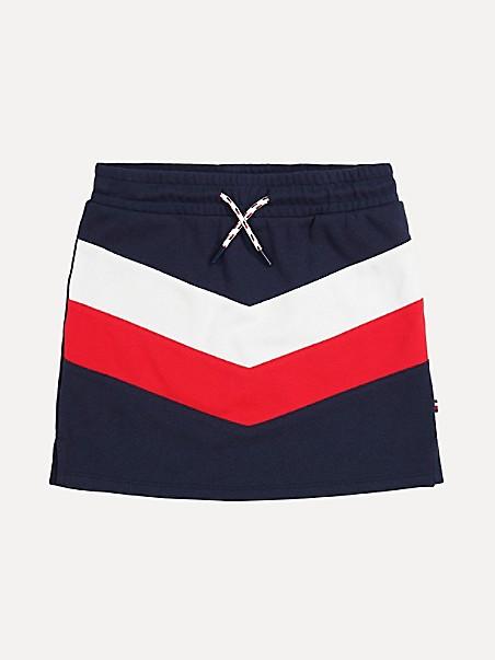 타미 힐피거 걸즈 스커트 Tommy Hilfiger TH Kids Chevron Skirt,navy blazer