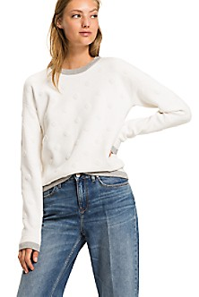 Hilfiger Denim THDW CN Knit S/S 10, T-Shirt Femme, Blanc (Classic White), MediumTommy Jeans