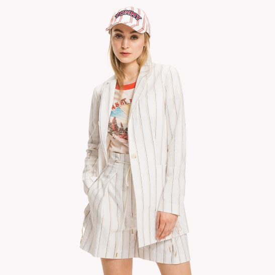 Image result for Long Linen Blazer by Tommy Hilfiger
