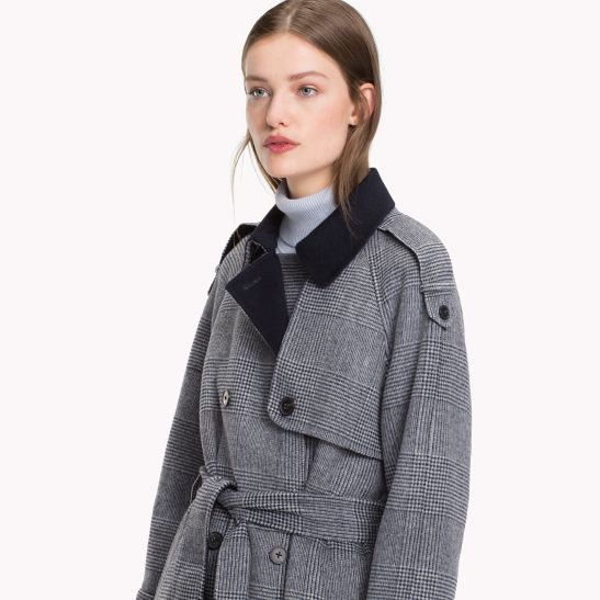 Glen Plaid Trench Coat Tommy Hilfiger