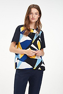 94ca0a34b2 Pleated Graphic Print Top