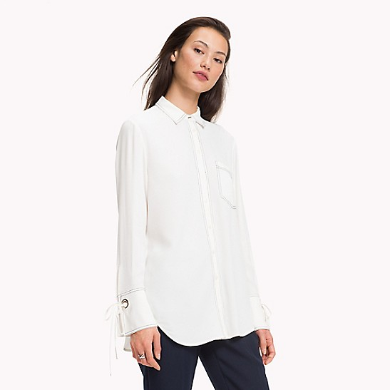NEW TO SALE Laced Eyelet Long-Sleeve Blouse de902f167