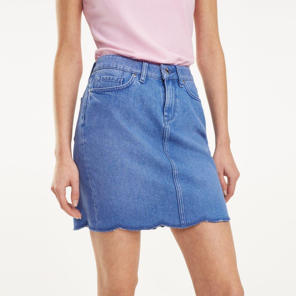 NEW Scalloped Jean Skirt