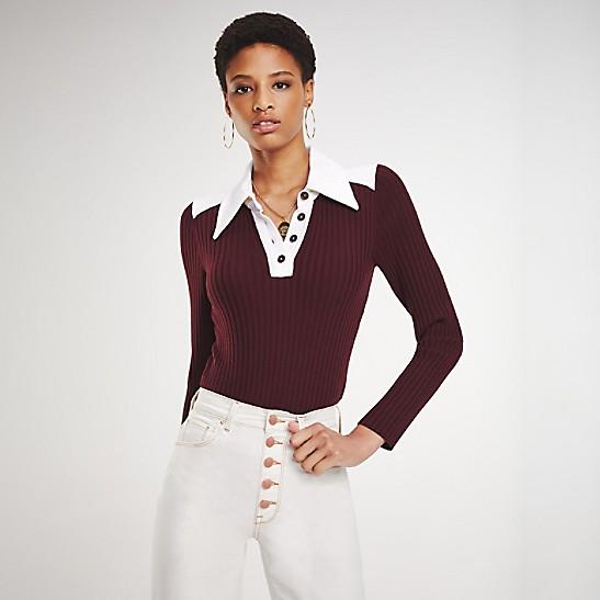 481a0004a907 Zendaya Long Sleeve Polo Bodysuit | Tommy Hilfiger
