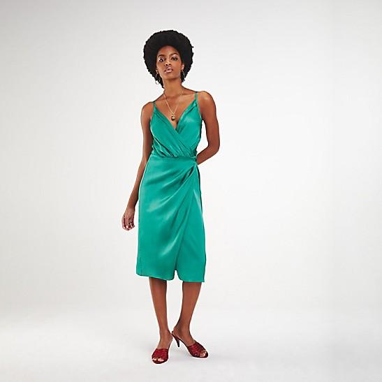 ca9c9a5c010 Zendaya Satin Wrap Dress | Tommy Hilfiger