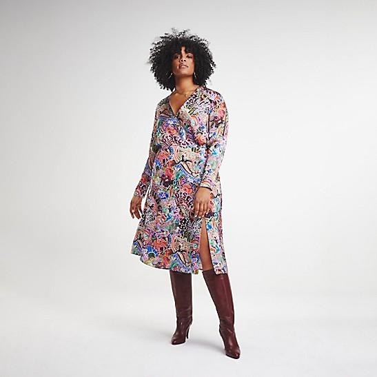 7806720862e Zendaya Curve Satin Wrap Dress | Tommy Hilfiger