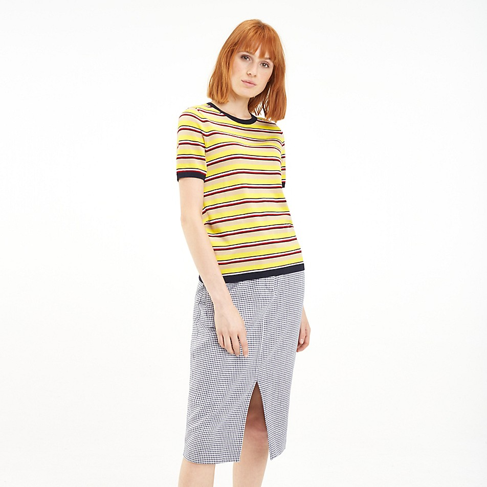 NEW TO SALE Short-Sleeve Stripe Sweater