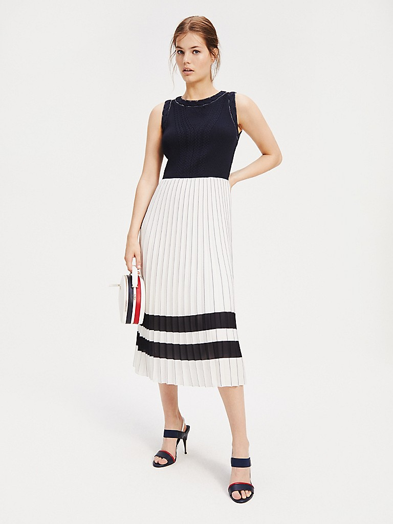 NEW TO SALE Pleated Sleeveless Midi Dress