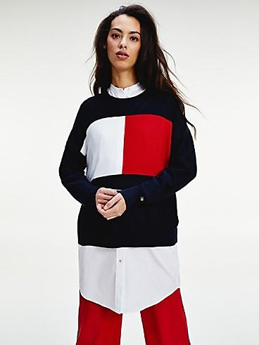 타미 힐피거 우먼 아이콘 플래그 스웨터 Tommy Hilfiger Icon Flag Sweater, DESERT SKY