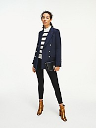 타미 힐피거 Tommy Hilfiger Solid Double-Breasted Blazer,NAVY WOOL
