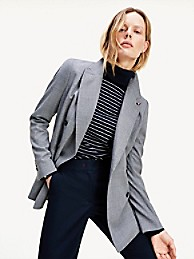 타미 힐피거 Tommy Hilfiger Solid Double-Breasted Blazer,GREY WOOL