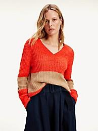 타미 힐피거 Tommy Hilfiger Textured Knit V-neck Sweater,OXIDIZED ORANGE/TIMELESS CAMEL