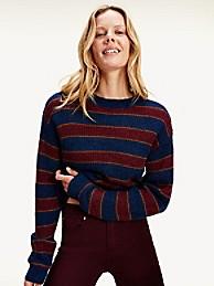 타미 힐피거 Tommy Hilfiger Metallic Icon Stripe Sweater,RUGBY STRIPE / DEEP ROUGE