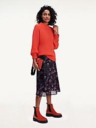 타미 힐피거 Tommy Hilfiger Textured Mock Turtleneck Sweater,OXIDIZED ORANGE