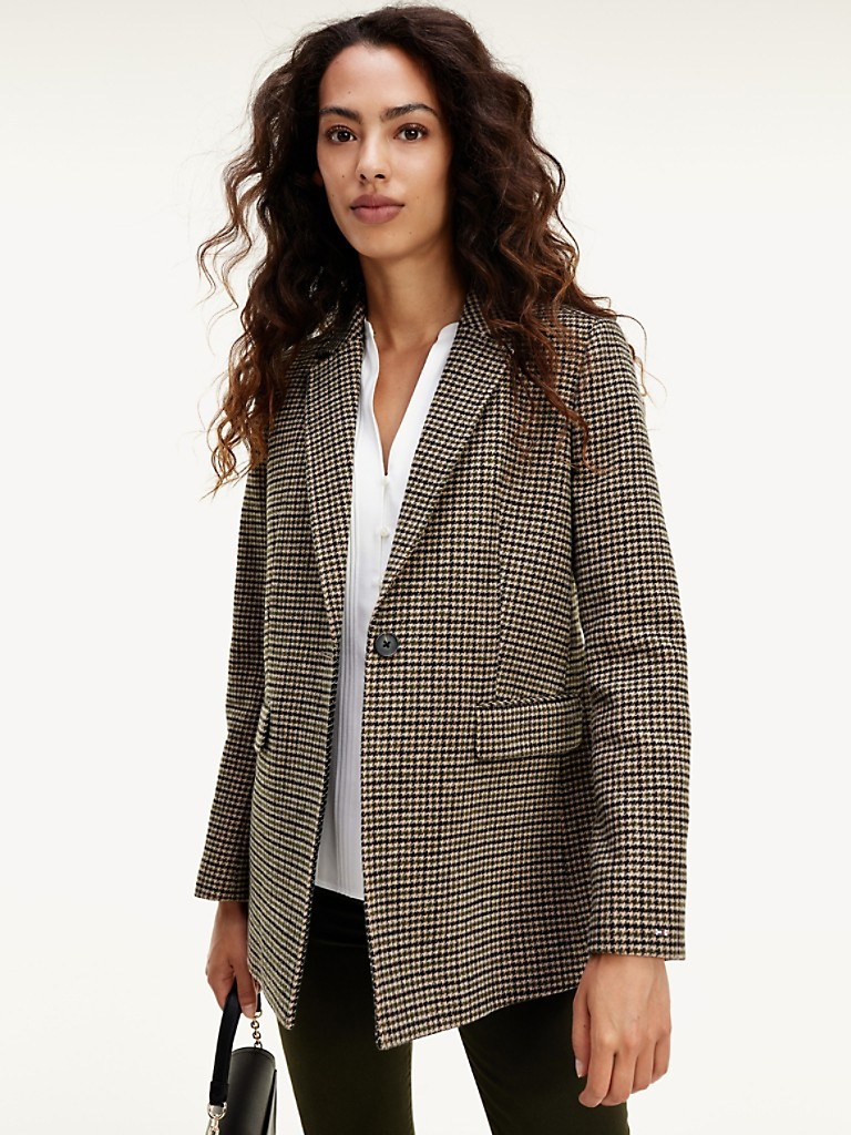 NEW Wool Houndstooth Hip Coat