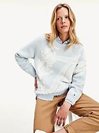 타미 힐피거 Tommy Hilfiger Organic Cotton Floral Monogram Sweater,SALT RIVER