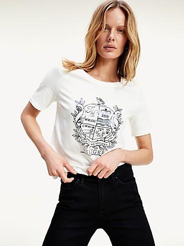 타미 힐피거 Tommy Hilfiger Organic Cotton Crest T-Shirt,ECRU