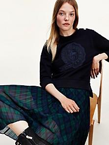 타미 힐피거 우먼 아이콘 맨투맨, 오가닉 코튼 - 데저트 스카이 Tommy Hilfiger Icon Organic Cotton Sweatshirt