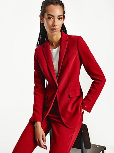 타미 힐피거 우먼 롱 수트 자켓 Tommy Hilfiger Long Suit Blazer,regatta red