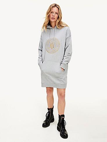 타미 힐피거 TH 후드 원피스, 오가닉 코튼 Tommy Hilfiger Organic Cotton TH Hoodie Dress, LIGHT GREY HEATHER
