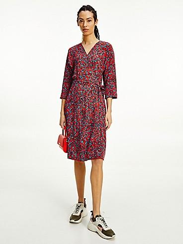 타미 힐피거 플로럴 랩 원피스 Tommy Hilfiger Floral Print Wrap Dress,camo floral / daring scarlet