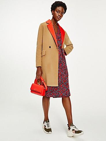 타미 힐피거 우먼 울 코트 Tommy Hilfiger Belted Wool Coat,countryside khaki/ daring scarlet