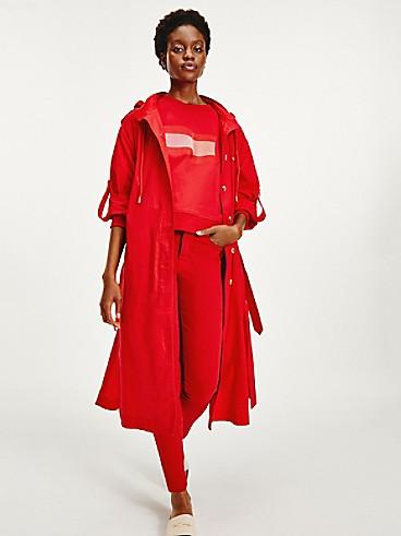 타미 힐피거 우먼 아이콘 오가닉 코튼 트렌치 코트 - 레드 Tommy Hilfiger Icon Organic Cotton Mod Trench Coat ww31145