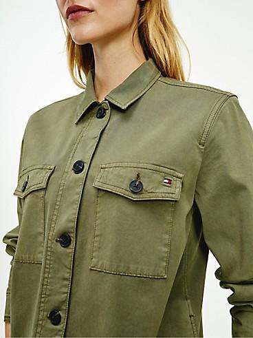 타미 힐피거 우먼 유틸리티 셔츠 자켓 Tommy Hilfiger Organic Cotton Utility Shirt Jacket,rocky mountain