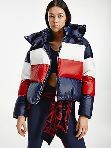 타미 힐피거 우먼 컬러블록 숏패딩 Tommy Hilfiger Down Colorblock Puffer Jacket,desert sky / regatta red / ecru