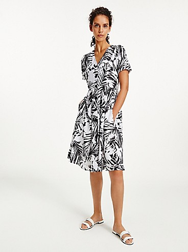 타미 힐피거 야자수 프린트 반팔 원피스 Tommy Hilfiger Palm Print Short-Sleeve Dress,PALM PRINT / BLACK