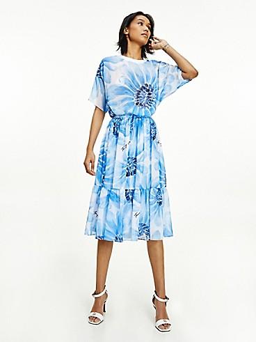 타미 힐피거 데이지 미디 스커트 Tommy Hilfiger Seersucker Daisy Midi Skirt,SWEET BLUE FLORAL