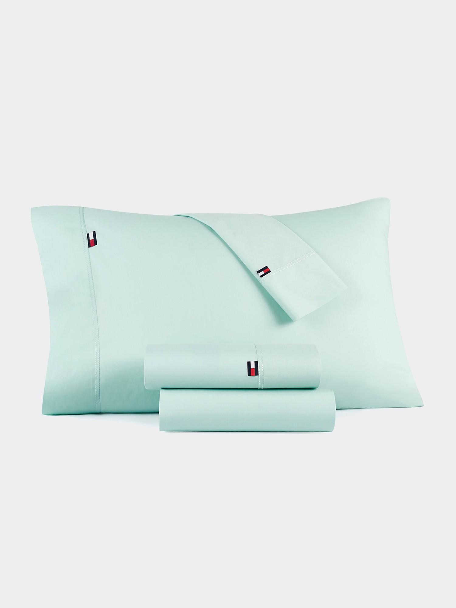 TOMMY HILFIGER Signature Solid Seafoam Green Pillowcase Set